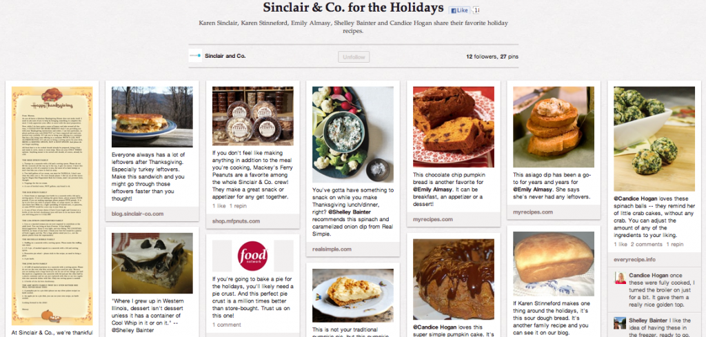Sinclair Co.'s Holiday Pinterest Board